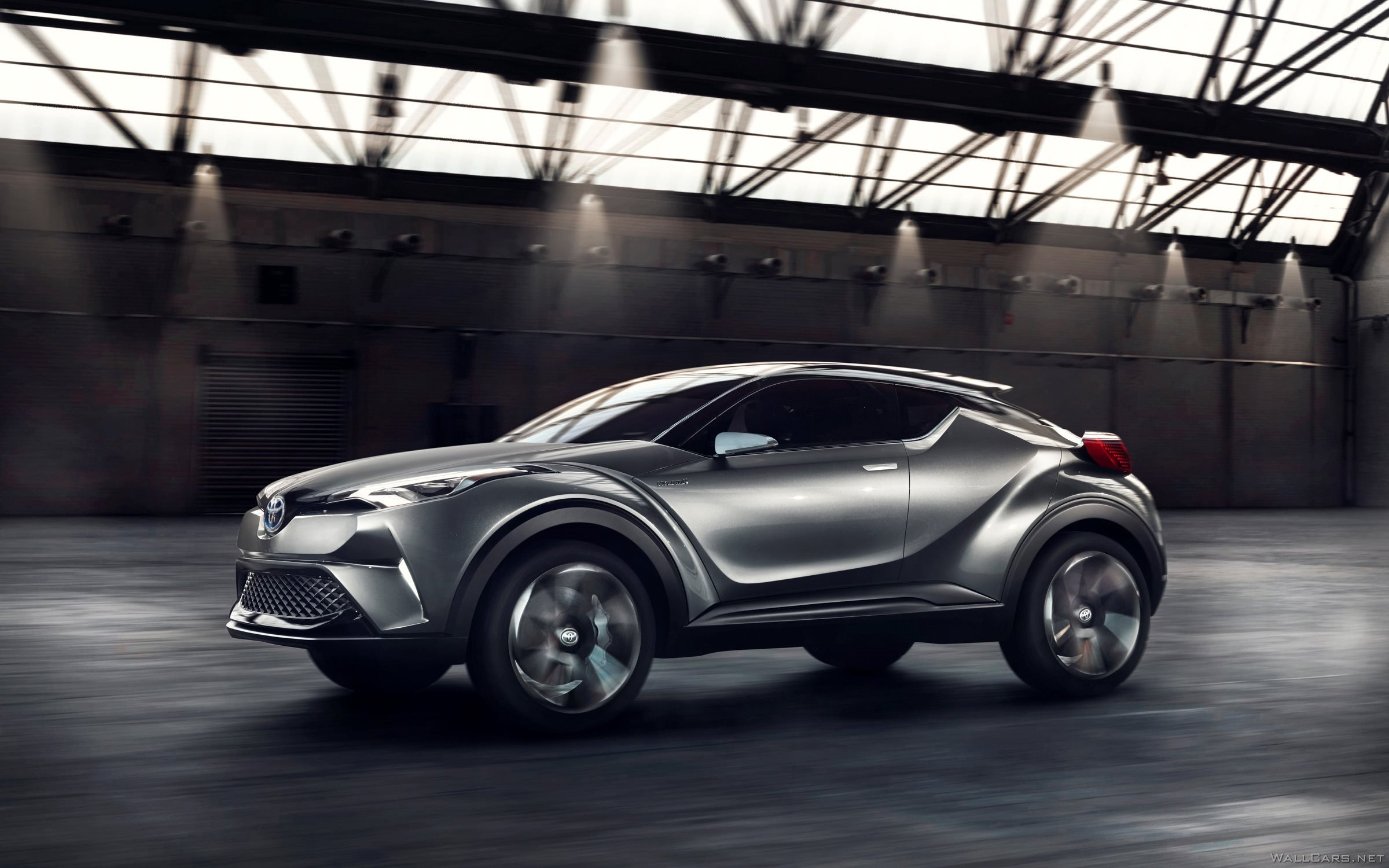 Silver Toyota C-HR Concept, 2015, motion, front, side, hood, headlights, future