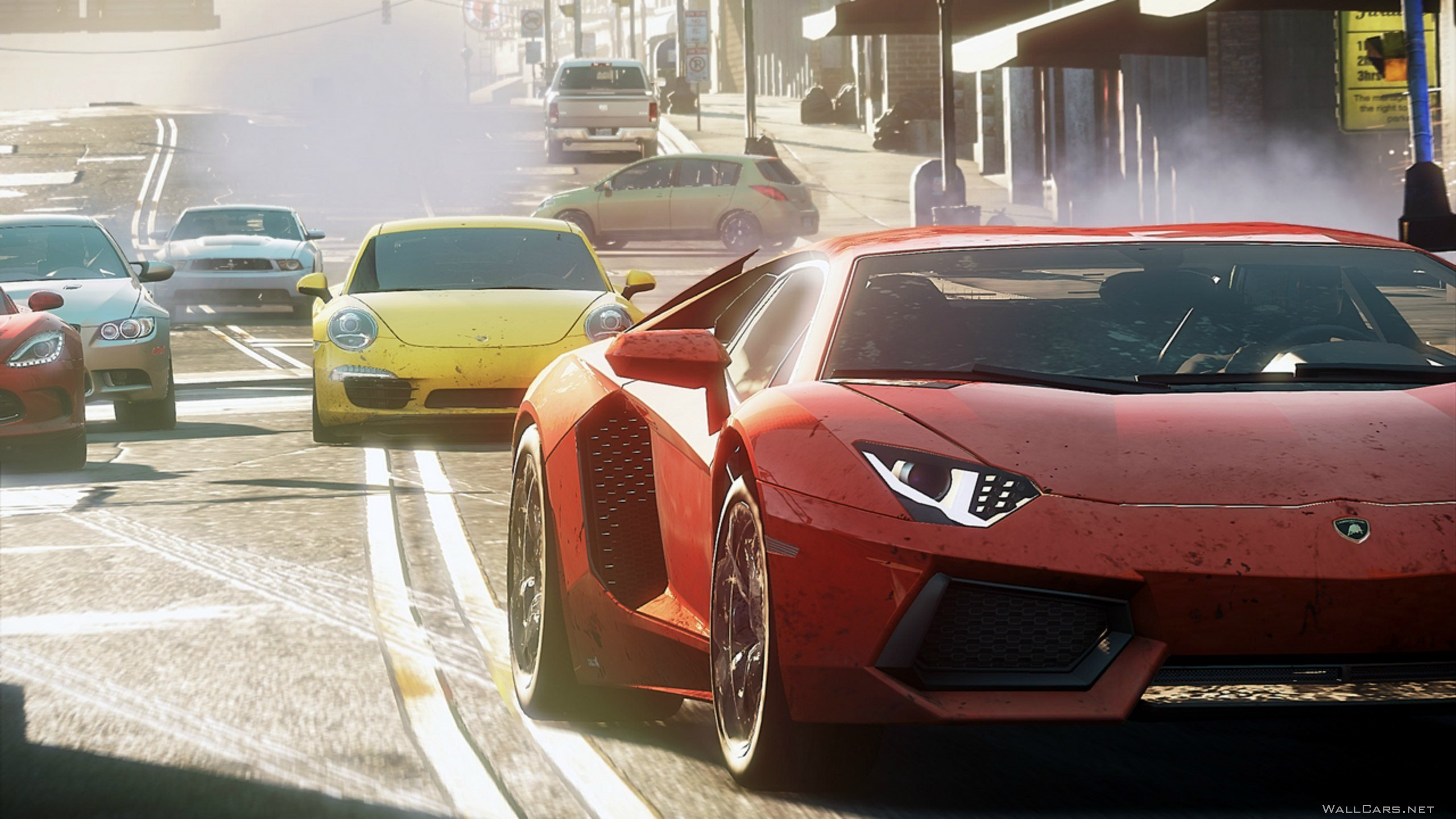 Красный Lamborghini Aventador, Need for Speed, NFS Most Wanted, Porsche, Dodge, BMW, Ford