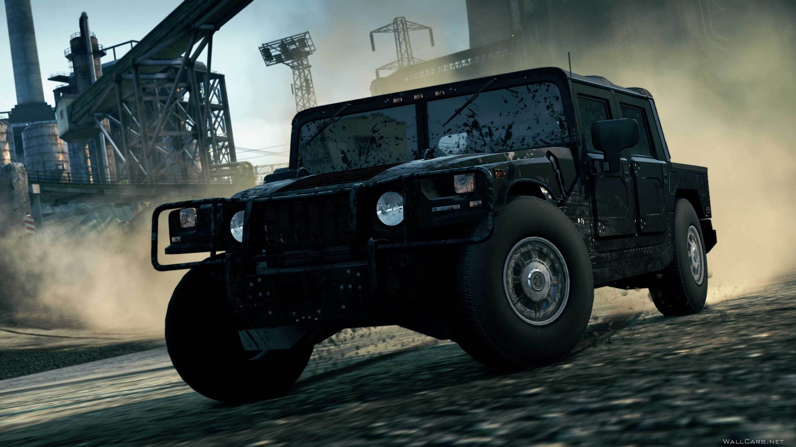 Hummer H1, Need for Speed, NFS Most Wanted, пыль, игра, завод, грязь