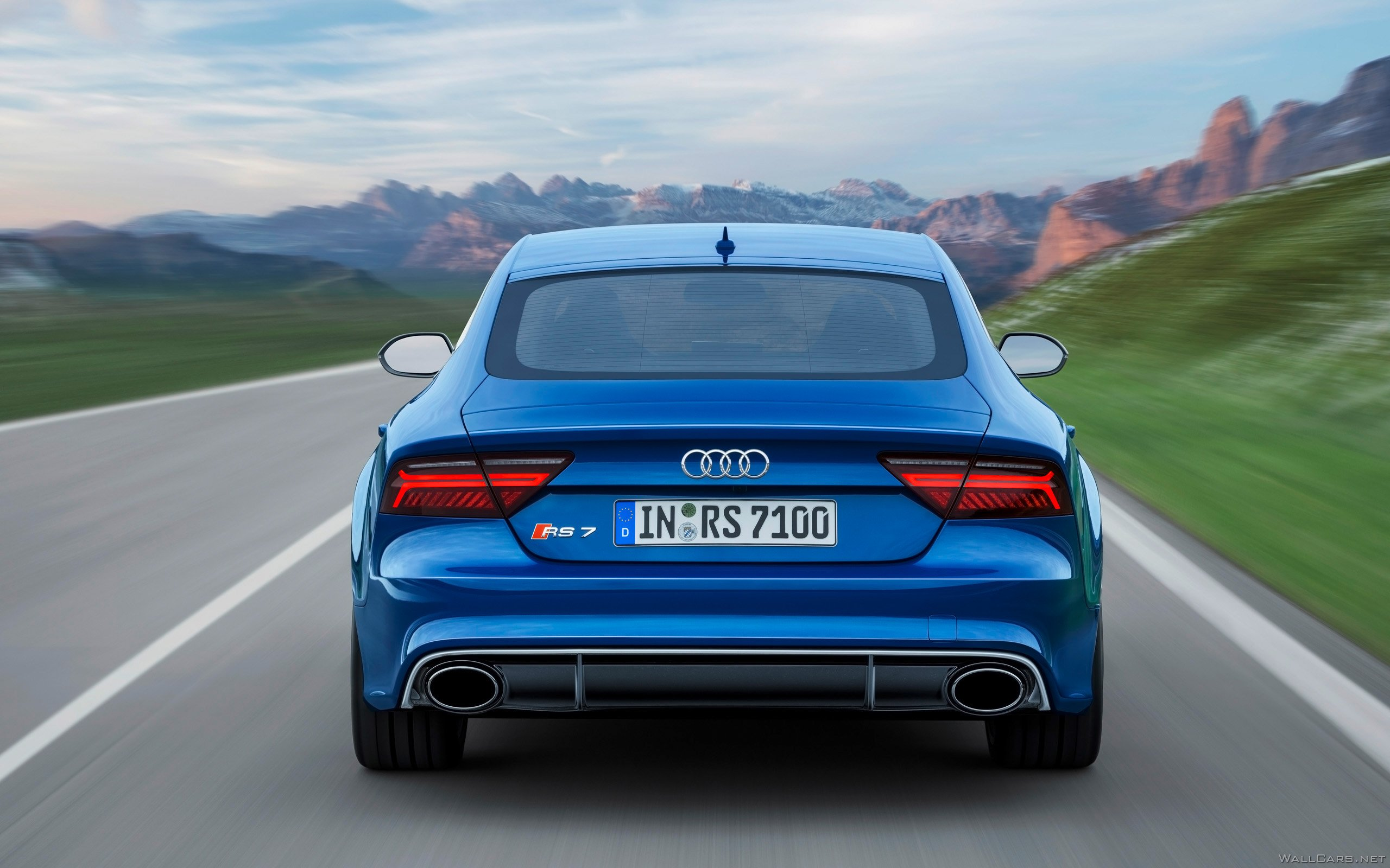 Rear lights of Audi RS7 Sportback Performance, 2015, back, style, new, third view, mountains, sky