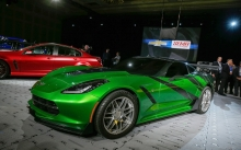 Зеленый Chevrolet Corvette Stingray, трансформеры, Transformers, винил, тюнинг, автосалон, концепт