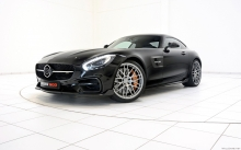 Black Mercedes-AMG GT S, Brabus, 2015, front, headlights, wheels, hood,