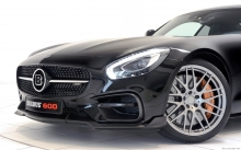 Fornt, black Mercedes-AMG GT S, Brabus, 2015, headlights, wheels, bumper, hood, details, macro
