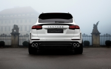 Back, Porsche Cayenne Vantage, TopCar, 2015, white, rear lights, fog, castle, photo, tuning