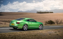 Зеленый Бэнтли, фото, Bentley Continental GT Speed,  2015, поле, пейзаж, экстерьер