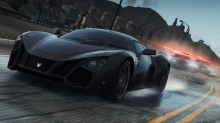 Marussia, Need for Speed, NFS Most Wanted,полиция, дождь, погоня