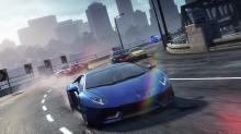 Синий Lamborghini Aventador, Need for Speed, NFS Most Wanted, гонка, погоня, полиция, город