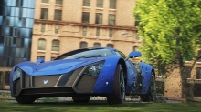 Грязь из-под колес синей Marussia B2 в игре NFS Most Wanted 2012