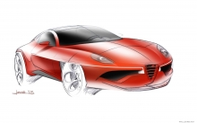 Цветные чертежи Alfa Romeo Disco Volante by Touring Superleggera, рисунок, карандаш