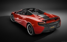 Red McLaren 650S Can-Am, 2016, cabriolet, details, tuning, color, back, rear lights