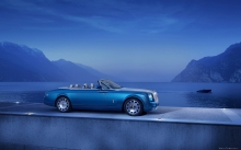 Синий Rolls-Royce Phantom Drophead Coupe, Ролс-Ройс Фантом Купе 2014, кабриолет, озеро, горы, пейзаж, туман, катер