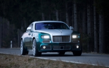 Передок Rolls-Royce Ghost, Ролс-Ройс Гост, 2014, фары, решетка радиатора, лес, природа, трасса