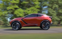 Red Nissan Gripz Concept, 2015, new, side. speed, wheels, future, design, forest, door