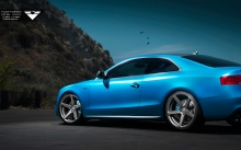 Диски, пороги, купе Audi S5 Vorsteiner, 2015, спорт, сбоку, цвет, blue, wheels, coupe, style, tuning