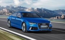 Blue Audi RS7 Sportback Performance, 2015, front, headlights, speed, hood, landscape, mountains, nature