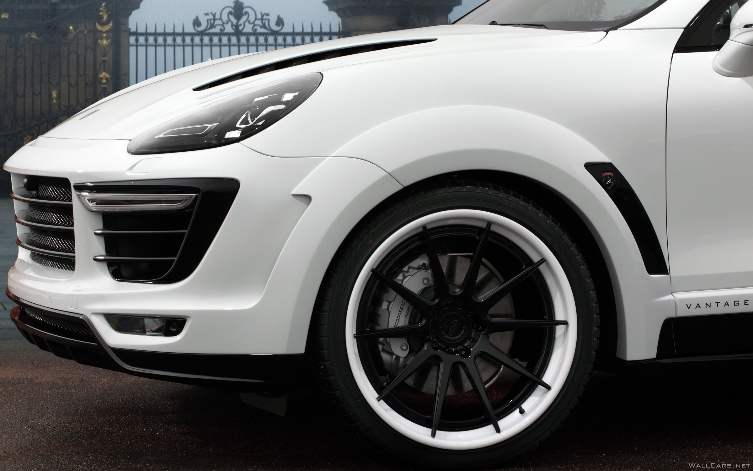 Front, wheels, tuning, photo, Porsche Cayenne Vantage, TopCar, 2015, bumper, white