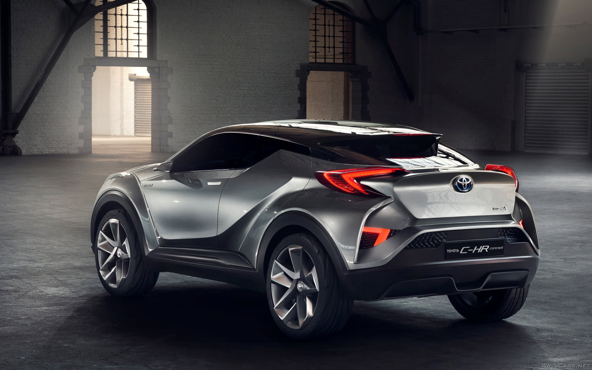Rear lights of Toyota C-HR Concept, 2015, logo, new, back, silver, lines, design