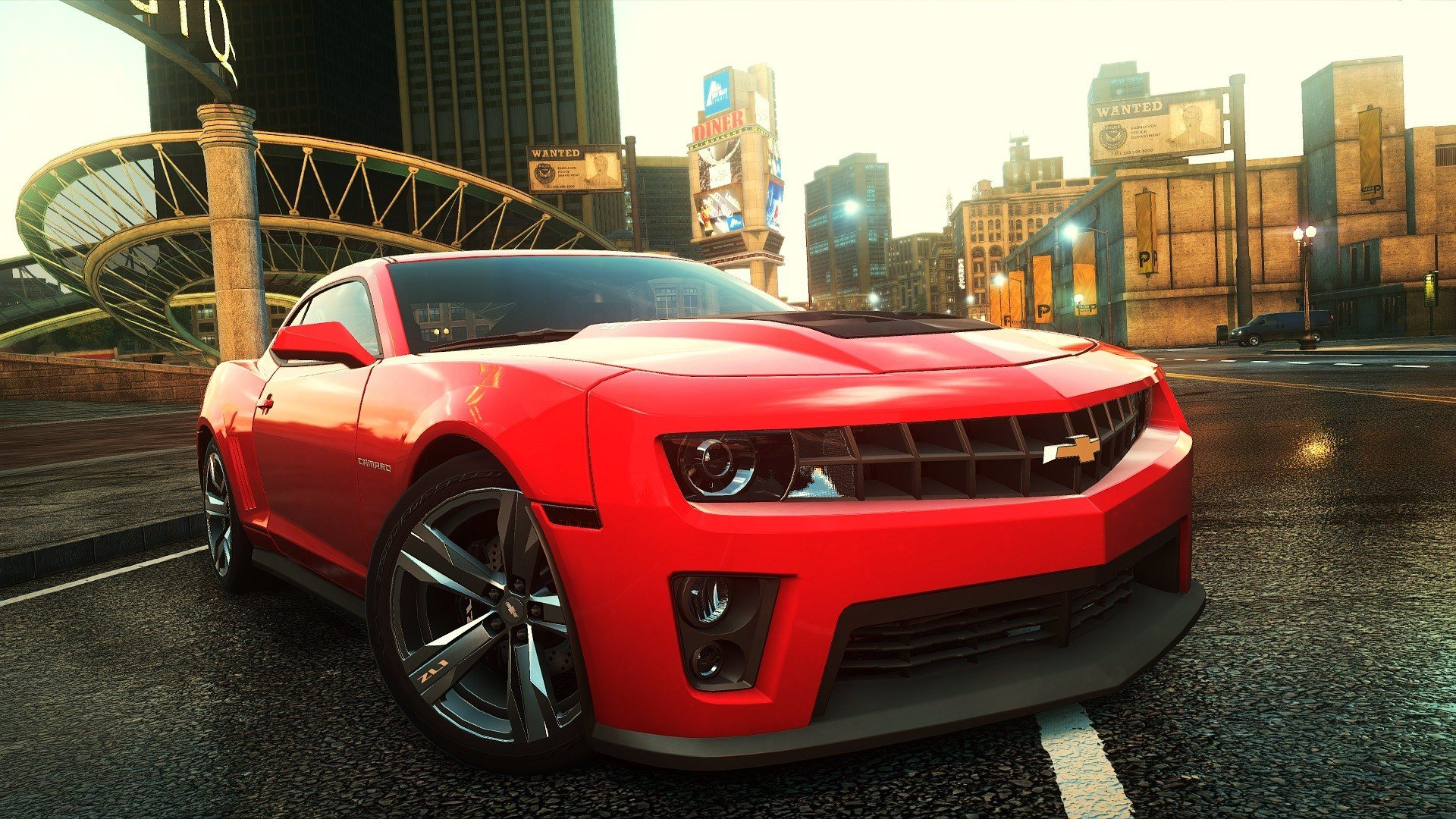 Красный Chevrolet Camaro ZL1, Шевроле Камаро, NFS Most Wanted, Need for Speed, 2012, диски, фары, игра, город, улица