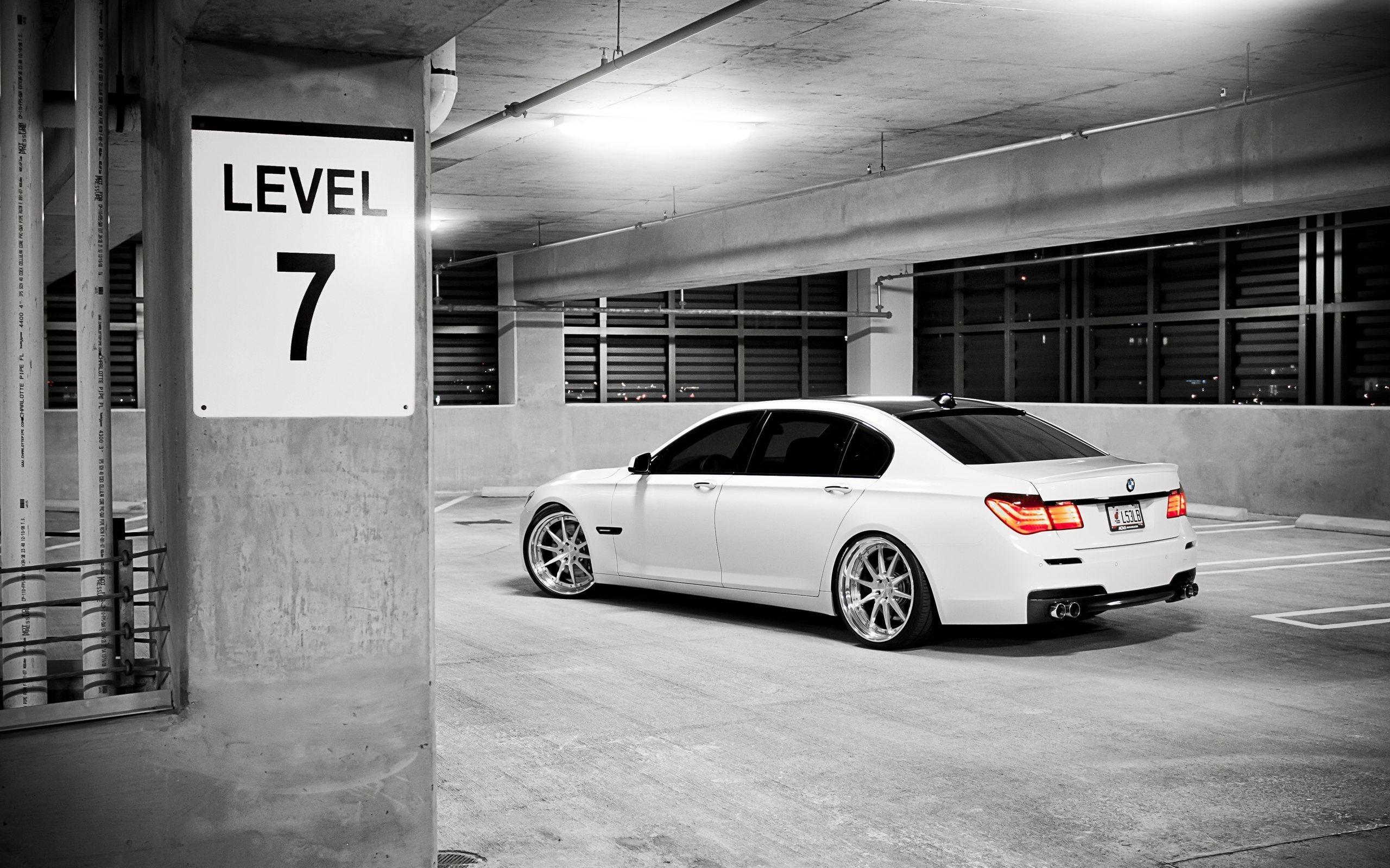 Bmw, cars, city, Auto, white, cтоянка, parking, остановка, 7series