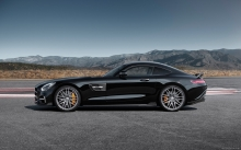 Side, wheels, balck Mercedes-AMG GT S, Brabus, 2015, tuning, sport, supercar, lanscape, tuning