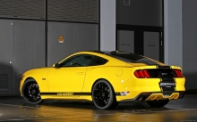 Желтый Ford Mustang GT Fastback, GeigerCar, 2015, диски, тюнинг, бампер, обвесы, tuning, yellow, wheels, muscle car