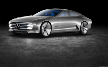Silver Mercedes-Benz Concept IAA, 2015, wheels, front, hood, logo, future, side