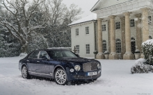Синий Bentley Mulsanne, Бентли Мульсан, фасад, архитектура, снег