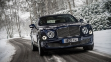 Вид спереди на Bentley Mulsanne, Бентли Мульсан, дорога, снег, деревья
