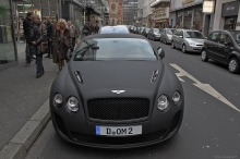 Серый Bentley Continental, Бентли Континенталь, передок, город улица