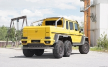 Rear Mercedes-Benz G63 AMG 6x6, Mansory, 2015, tuning, back, factory, yellow, new
