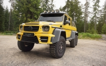 Front Mercedes-Benz G63 AMG 6x6, Mansory, 2015, yellow, offroad, headlights, tuning, bumper, wheels