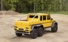 Yellow Mercedes-Benz G63 AMG 6x6, Mansory, 2015, pickup, offroad, SUV, forest, back, wheels