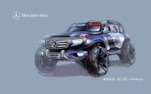 Нарисованный Mercedes-Benz Ener-G-Force Concept на синем фоне