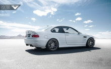 White BMW M3 E46, Vorsteiner, 2000-2006, back, rims, tuning, desert, sky, coupe
