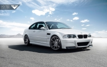 White BMW M3 E46, Vorsteiner, 2000-2006, headlights, front, wheels, tuning, desert, sky