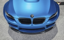 Hood of BMW M3 E92 GTRS3, Vorsteiner, 2014, logo, color, headlights, macro, tuning, blue