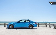 Blue BMW M3 E92 GTRS3, Vorsteiner, 2014, side, wheels, tuning, sky, sea, coast, color